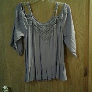 Lavender cold shoulder top